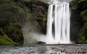 Картинка лес, природа, река, человек, водопад