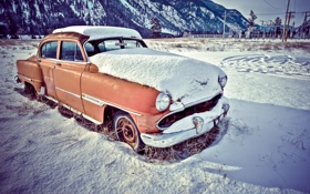 Картинка car, windows, glass, snow, vehicle, rust, oxide