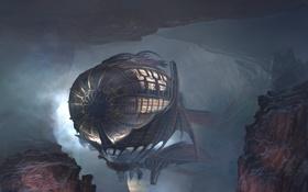 Обои пещера, скалы, дирижабль, Airship