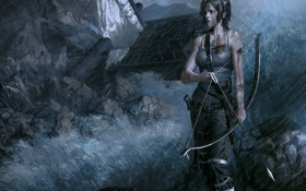 Обои девушка, дом, камни, оружие, лук, арт, стрела