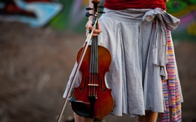 Обои скрипка, Lindsey Stirling, Линдси Стирлинг, юбка, violin