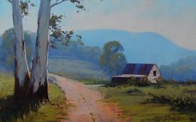 Обои пейзаж, дом, ферма, дерево, artsaus, дорога, арт