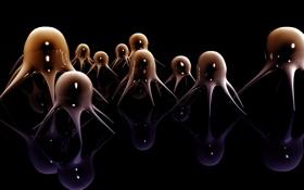 Обои отражение, щупальца, Медузы