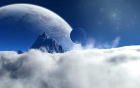 Обои звёзды, планеты, облака, гора