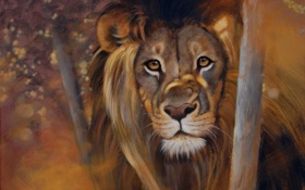 Картинка eyes, lion, look, pollyanna pickering paintings