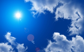 Обои солнце, облака, блики, безмятежность, Небо
