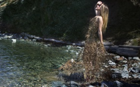 Картинка песок, река, камни