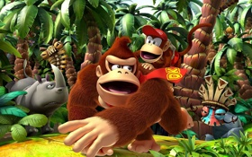 Обои игра, маска, обезьяна, носорог, Donkey Kong Country Returns