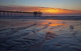 Картинка море, пейзаж, закат, мост