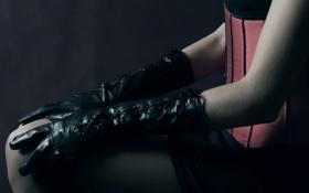 Картинка чулки, руки, перчатки, корсет, нога, краги