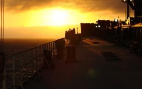 Картинка Закат, Солнце, Судно