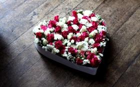 Картинка цветы, сердце, розы
