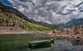 Картинка камни, Калифорния, Озеро Сабрина, Lake Sabrina, California, горы, лодка