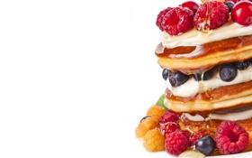 Картинка ягоды, малина, черника, сироп, оладьи, аппетитно, оладушки
