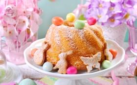 Обои цветы, яйца, весна, Пасха, flowers, spring, кекс