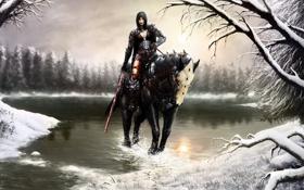 Обои зима, воин, девушка, Death Dealer, на коне