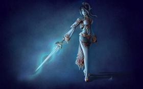 Обои взгляд, девушка, лицо, фантастика, волосы, тень, меч