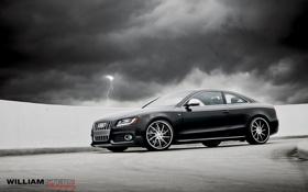 Обои небо, тучи, серый, Audi, ауди, молния, купе