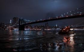 Картинка ночь, мост, город, огни, отражение, photographer, Julia Sariy