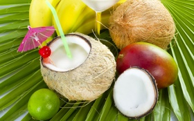 Обои кокос, бананы, коктейль, лайм, фрукты, манго, fresh
