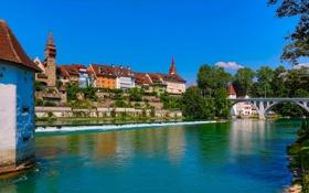 Обои небо, деревья, мост, река, дома, Швейцария, Бремгартен