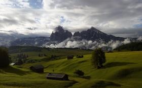 Обои оболака, горы, небо, луга