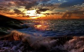 Картинка море, волны, цвета, солнце, облака, лучи, шторм