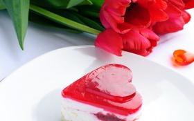 Обои фото, Цветы, Сердце, Тюльпаны, Еда, Пирожное, Выпечка