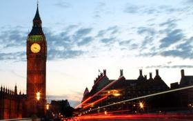 Картинка облака, небо, Лондон, Биг - Бен, движение, London, часы