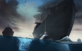 Картинка море, птицы, сетка, чайки, корабли, рыба, арт