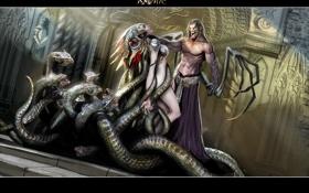Обои девушка, змеи, демон, ravine heretic and the sinner