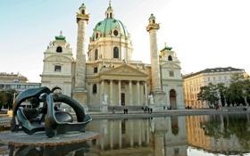 Картинка вода, вечер, статуи, колоны