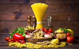 Картинка перец, натюрморт, помидоры, спагетти, томаты, специи, макароны