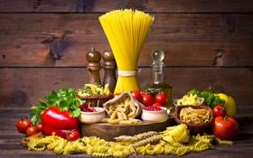 Обои макароны, томаты, специи, спагетти, натюрморт, помидоры, перец