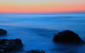 Картинка море, небо, вода, пейзаж, закат, синий, туман