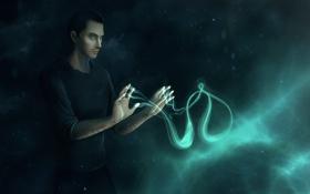 Обои парень, магия, ViaEstelar, фентези