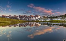 Обои природа, панорама, горы, отражение, озеро