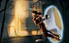 Обои девушка, Portal 2, Портал 2, Челл, Chell, портал ган