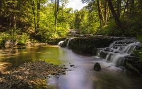 Картинка природа, фото, Франция, водопады, cascades Les Planches