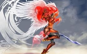 Обои небо, оружие, фантастика, крылья, меч, доспехи, валькирия
