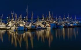 Обои Finnmark, polar night, Nesseby, fishing boats