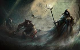 Картинка девушка, магия, карта, драконы, арт, монстры, капюшон