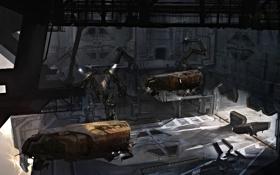 Обои облака, робот, корабли, станция, арт, ангар, док
