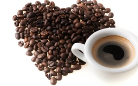 Обои сердце, кофе, чашка, love, heart, beans, coffee