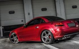 Обои красный, купе, гараж, mercedes