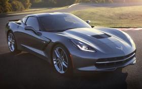 Обои серый, Corvette, Chevrolet, Шевроле, передок, Stingray, Корвет