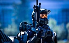 Обои оружие, фантастика, воин, Halo, хало, video game