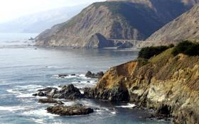 Обои море, волны, вода, горы, скала, камни, фото