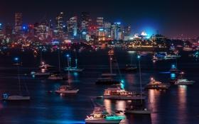 Обои ночь, город, огни, яхты, лодки, порт