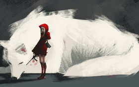 Картинка оружие, животное, аниме, арт, капюшон, девочка, лисица